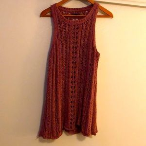 Elegant mauve loose knitted tank